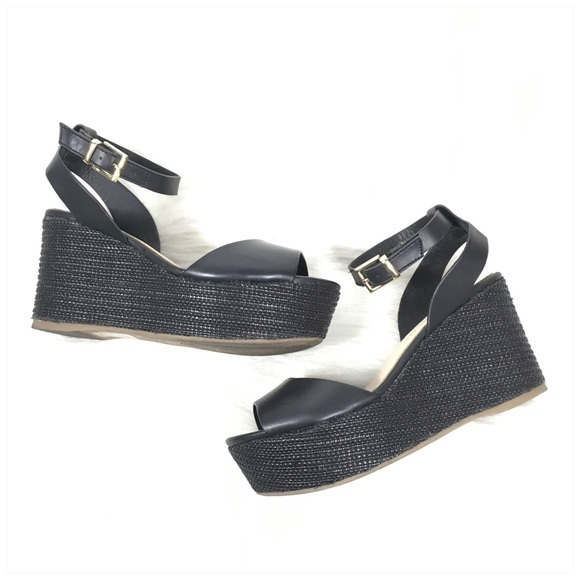 Aldo Shoes - ALDO Black Ankle Strap Wedge Sandal Size 6.5